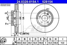 Přední brzdový kotouč (300mm) P3 S60 II/V60 S80 II/V70 III/XC70 III drážkovaný