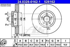 Přední brzdový kotouč (316mm) P3 S60 II(XC)/V60(XC) S80 II/V70 III/XC70 III drážkovaný