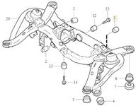 Uložení zadní nápravnice - zadní spodní příčné rameno P2 XC90