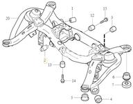 Uložení zadní nápravnice - hlavní příčné rameno P2 XC90