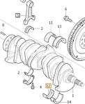 Kluzné ložisko klikového hřídele spodní ZELENÁ 5 válec (-2008/ENG -626700) 2.4D/D5