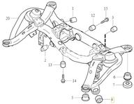 Uložení zadní nápravnice - přední příčné rameno P2 XC90